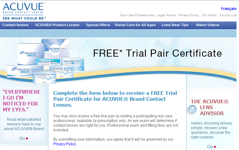 FREE Acuvue Contact Lenses Certificate Mailed to you