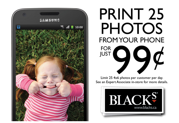 $1 deal at Black's Photography stores for 25 pictures stored on your phone – Valid until April 26, 2012