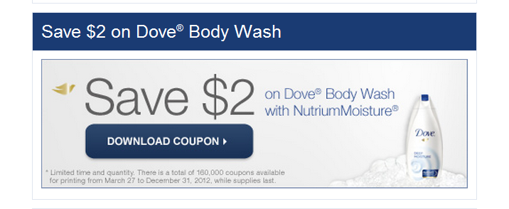 Printable Dove Body Wash $2 Off Coupon on Dove's Facebook page