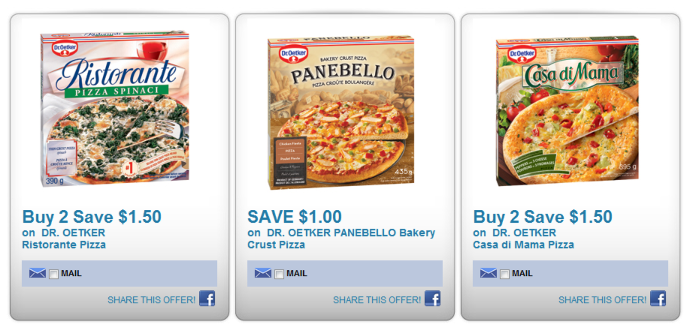 Dr Oetker Pizza Coupons on Save.ca – PLUS great deal on them at NF's this week
