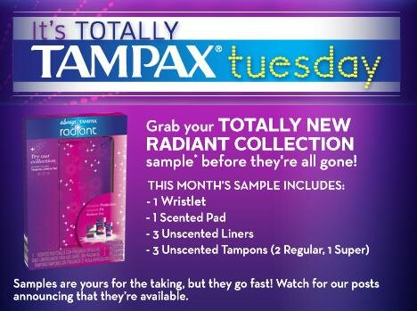 Tampax TUESDAY = Free Samples!