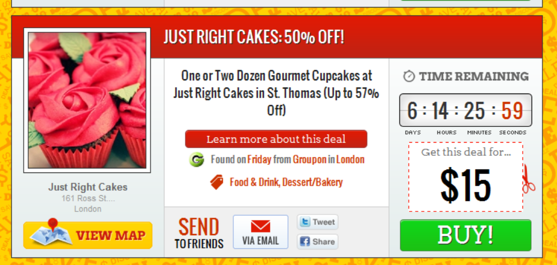 mmmm Cupcakes – 50% off on Groupon – Just Right Cakes in St Thomas, Ontario