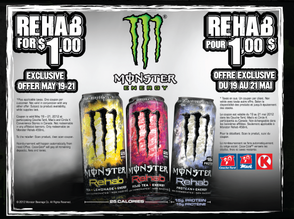Long Weekend Special at Mac's Convenience – Monster Rehab Drink – $1 with printable coupon