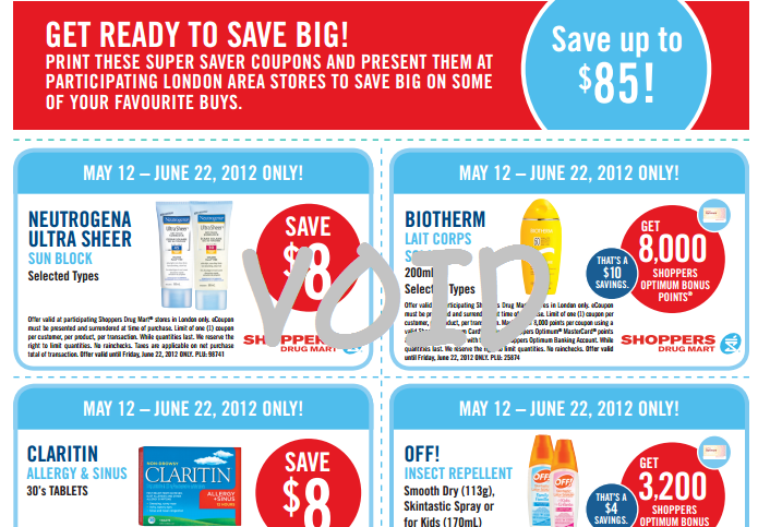 $85 worth of printable valuable Shoppers Drug Mart Coupons – VALID for LONDON ONLY