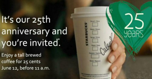 .25 Starbucks Coffee June 12 ONLY