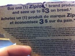 NEW Coupon Found on Ziploc Packaging :) $3 off ANY ONE loaf of bread!!! WOW!