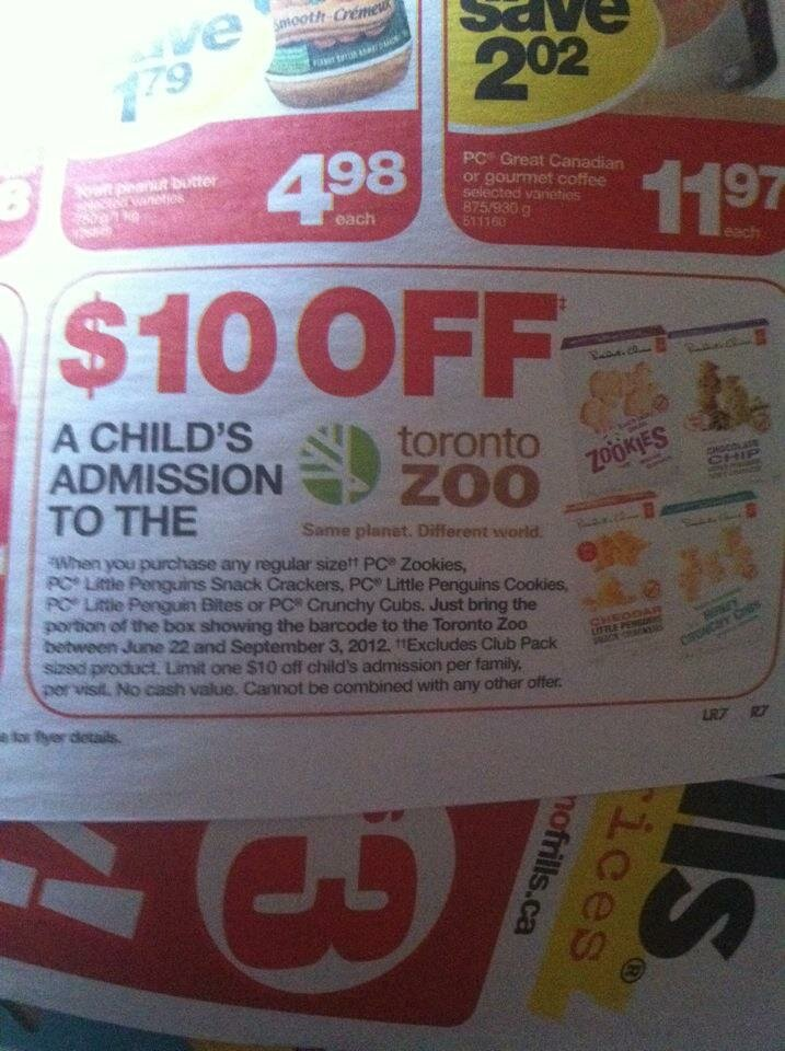 Toronto Zoo Coupon for $10 off – Thanks RCSS