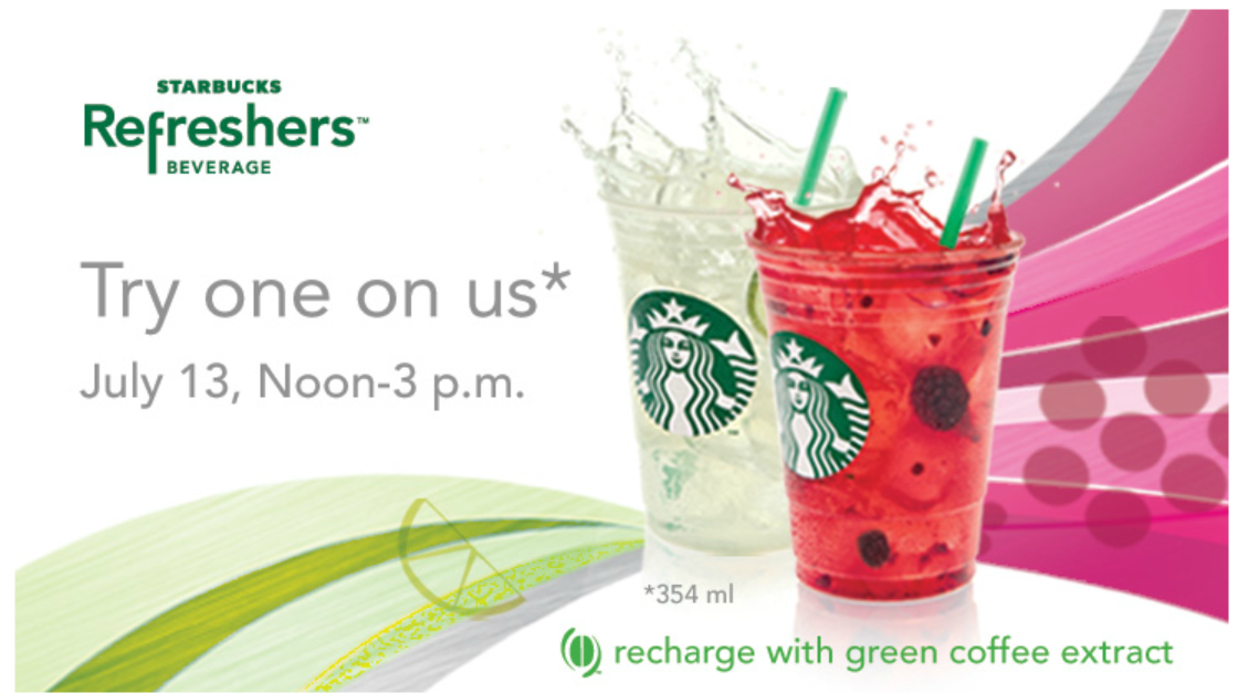 Get a FREE REFRESHER beverage from Starbucks tomorrow (noon – 3pm)