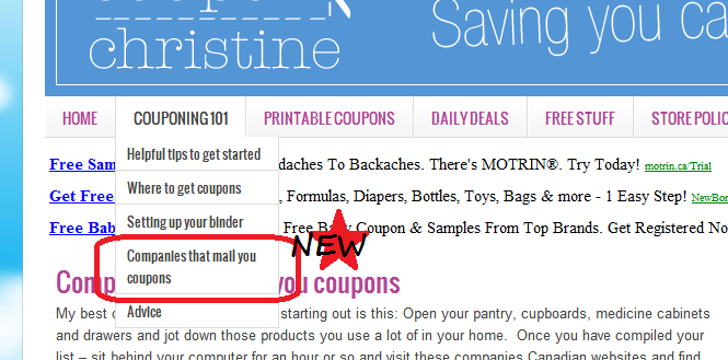 * Check it Out! * UPDATED SECTION of WEBSITE – Companies that Mail you Coupons