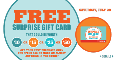 SDM – Free *SURPRISE* Gift Card with $50 purchase – Sat. July 28, 2012