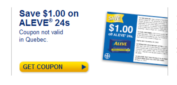 Printable Coupon on Aleve Pain Medication
