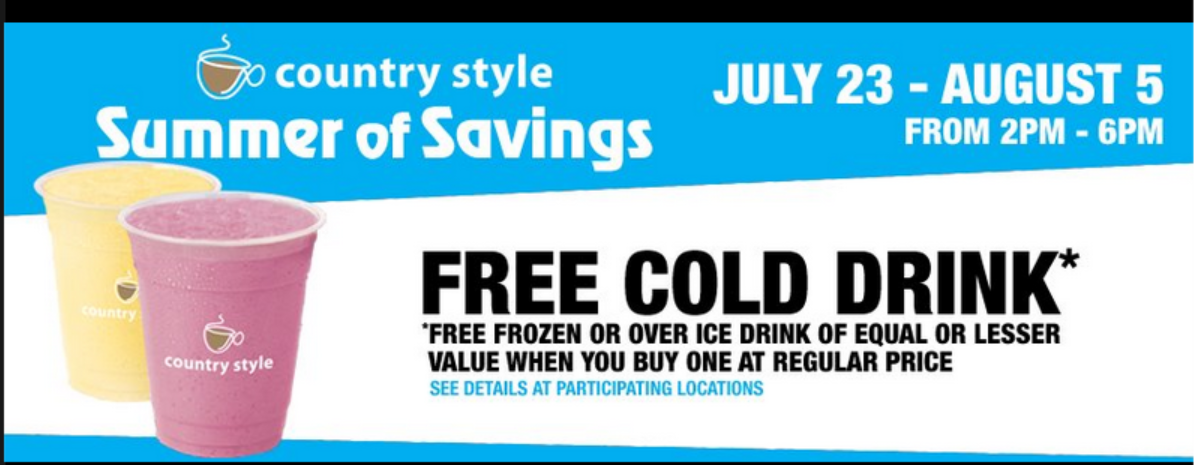 B1G1 FREE Ice Drink at Country Style (July 23 – Aug 5)
