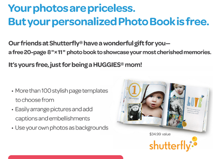 FREE SHUTTERFLY Photo book from Huggies – check your email everyone :)