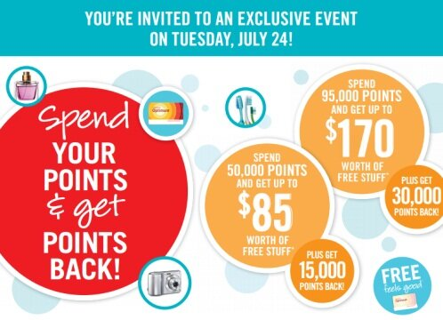 Shoppers – spend your points BUT get points back event – TOMORROW, July 24, 2012