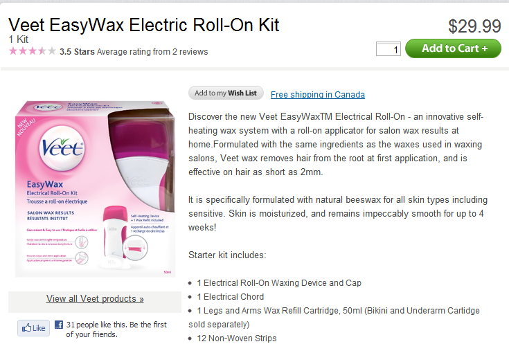 Well.ca deal on VEET WAX KIT – $19.99 with PROMO CODE