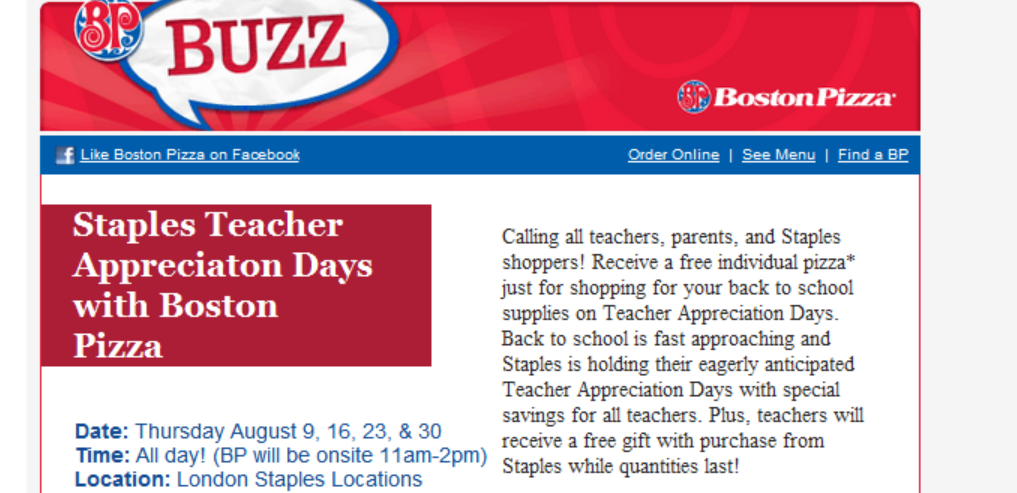 FREE Coupon for a Personal Pizza from Boston Pizza when you shop at Staples during select days