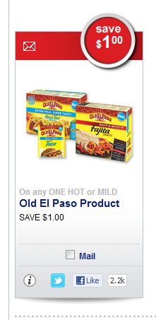 $1 off Old El Paso Hot or Mild Taco Kit