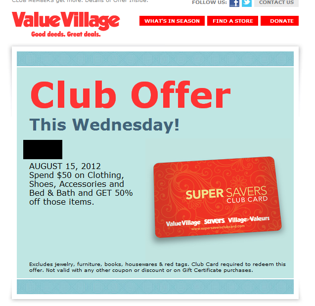 Shop Value Village tomorrow and SAVE 50% off your bill
