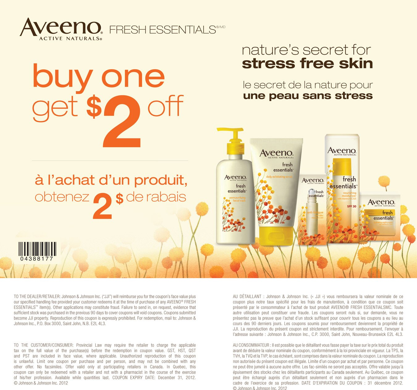 $2 off Aveeno Fresh Essentials Printable