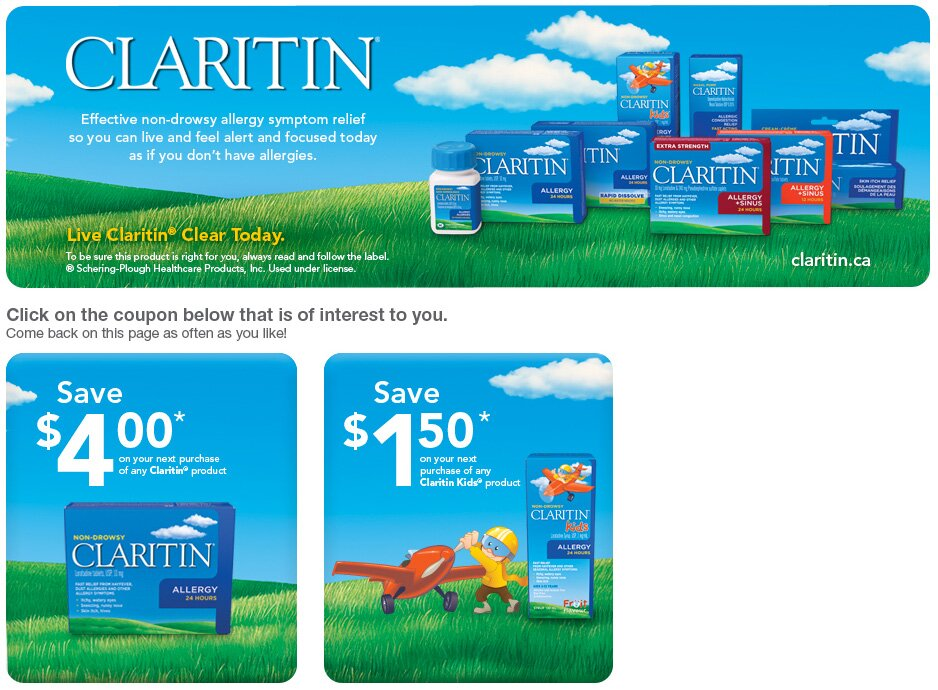 2 printable Claritin Coupons