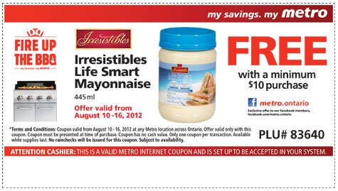 Free Irresistibles Life Smart Mayo with Purchase at Metro