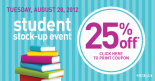 Students save 25% on August 28 2012 at Shopper's!