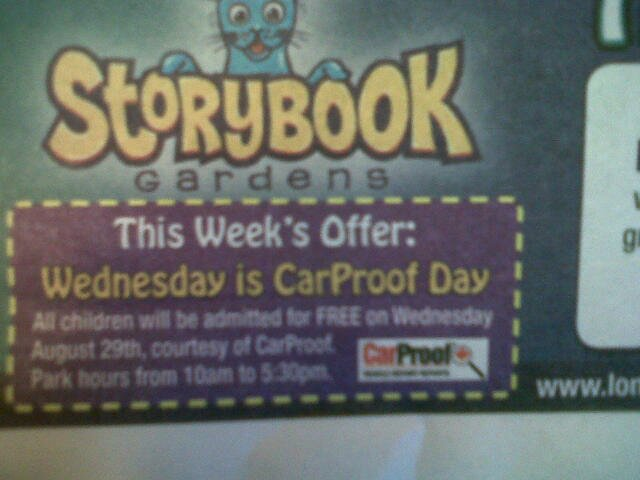 Wednesday August 29th, all children free entry into Storybook Gardens.