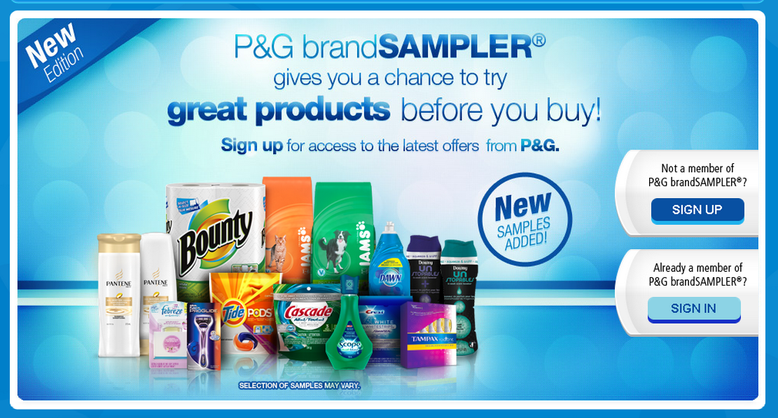 P&G's BRANDSAMPLER is LIVE!  Try before you Buy!  GO GO GO
