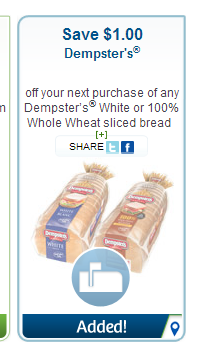 $1 off Dempsters White or 100% Whole Wheat Sliced Bread on Websaver.ca