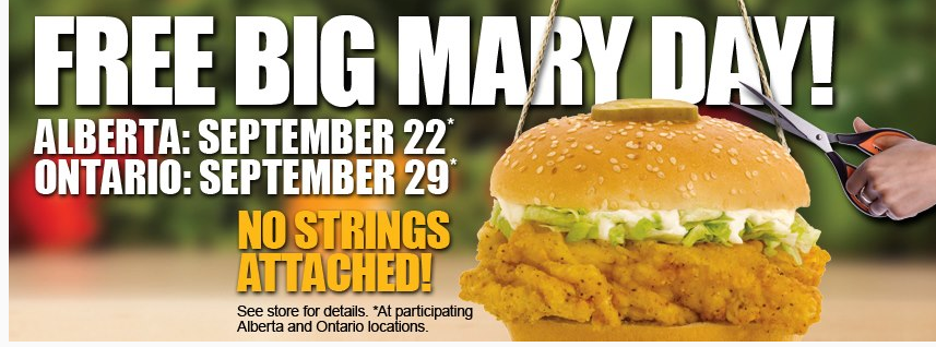 FREE Mary Brown's Chicken Burger Tomorrow, Sept. 29 – NO Strings Attached ONTARIO
