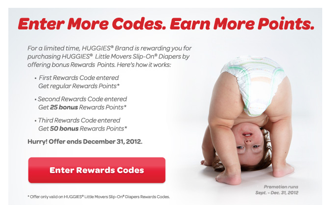 Huggies Little Movers Bonus Rewards Points Event – expires Dec. 31, 2012