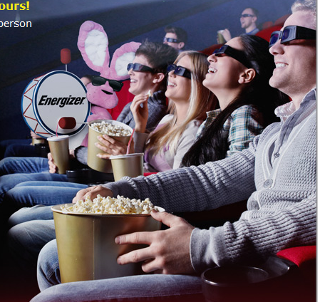 FREE Movie Ticket offer with specially marked Energizer Batteries * watch for sales :)