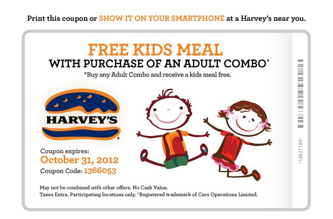 FREE Kids Meal at Harvey's with Combo Purchase