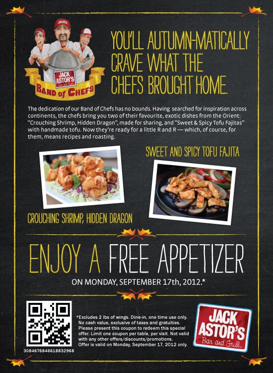 FREE APPETIZER – TODAY ONLY at Jack Astors!