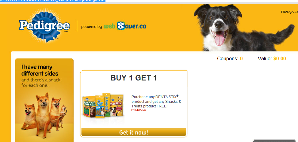 *NEW* B1G1 Free Pedigree Dog Treats with the purchase of Dentastix on Websaver.ca