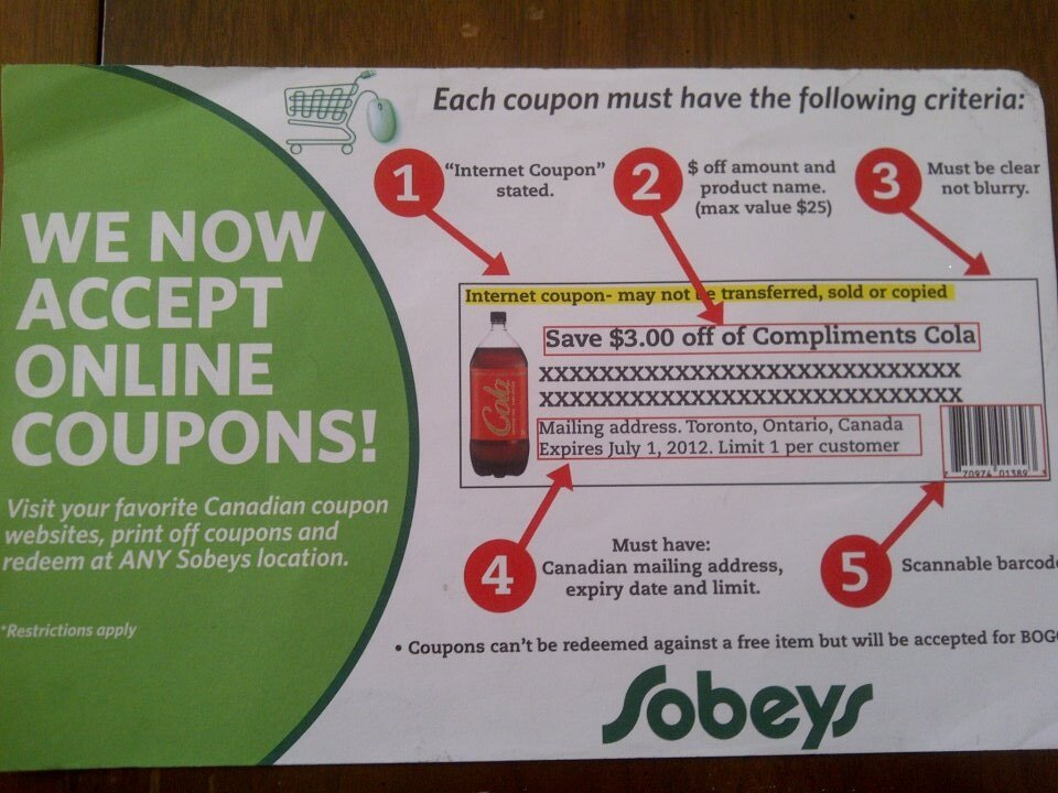 Sobey's accepts online printable coupons and appears as though they are training staff well :)