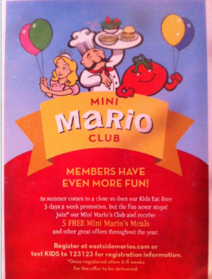 East Side Marios wants to give you FREE FOOD for the Kids!