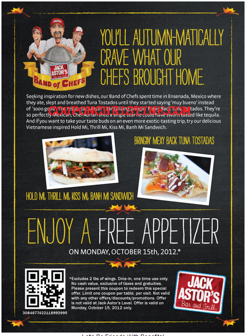 Jack Astors PROMOTIONS – 20% BONUS Gift Card Purchase + Free Appetizer