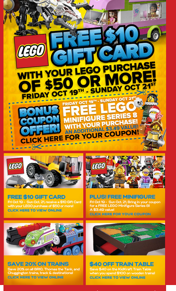 MASTERMIND SALE – on LEGO, Thomas the Train, Chuggington, BRIO and train tables PLUS a free mini figure with coupon