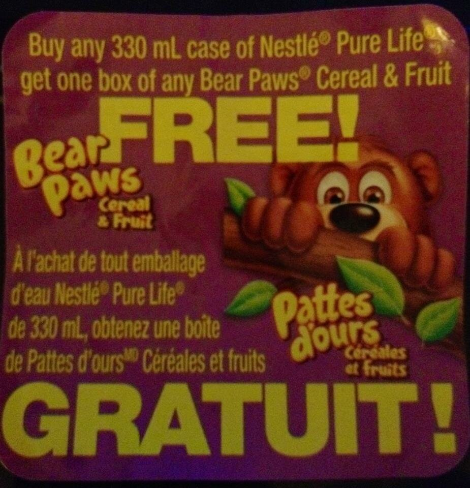 *NEW PEELIE FOUND for Bear Paws Cereal and Fruit *