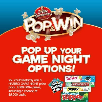 NEW $5 off HASBRO GAME Coupon on Orville Pop Corn Boxes