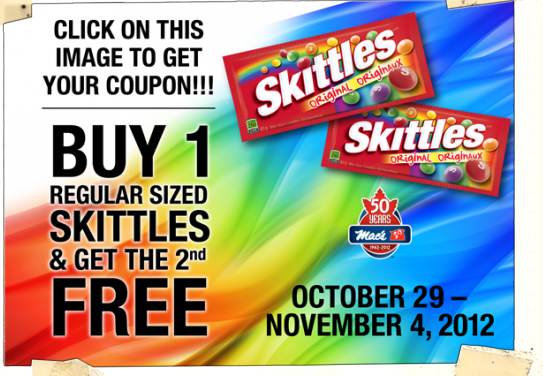 B1G1 Skittles at Participating Mac's Convenience Stores – Ontario ONLY