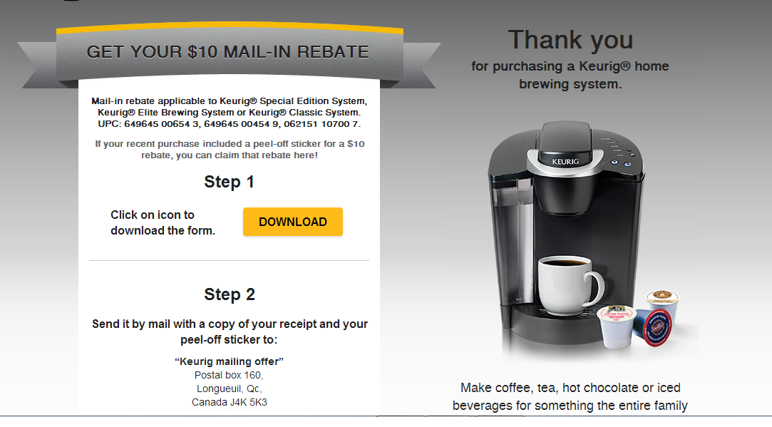 *NEW* Mail in Rebate on Keurig Coffee Makers
