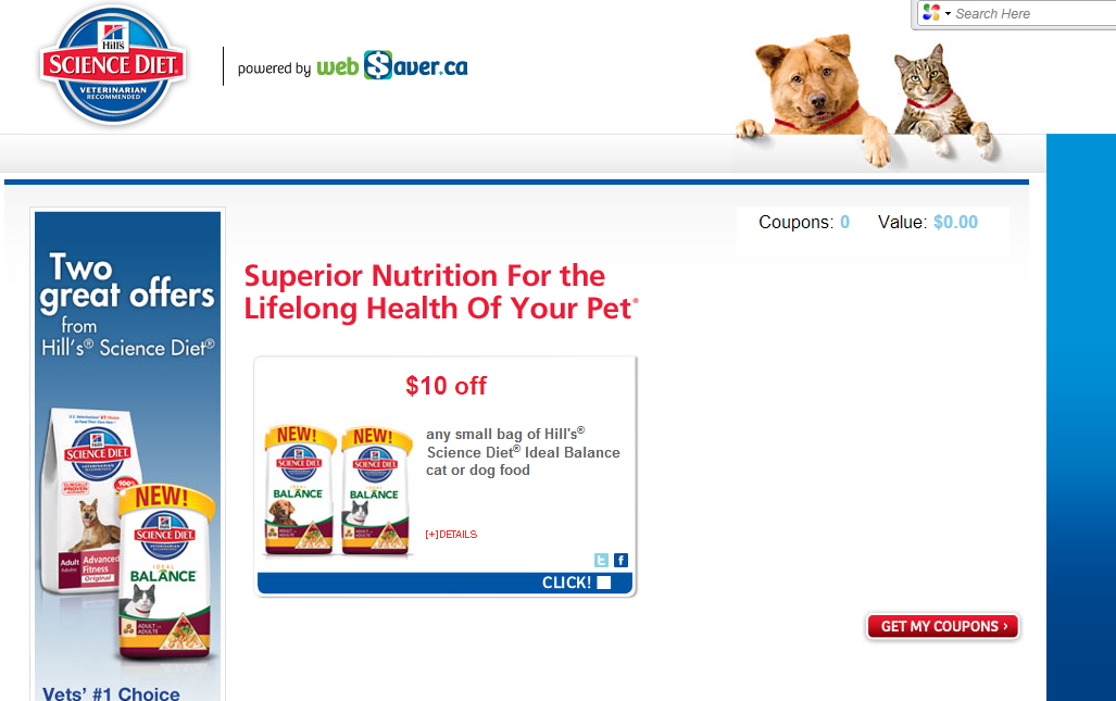 $10 Science Diet Coupon On Websaver