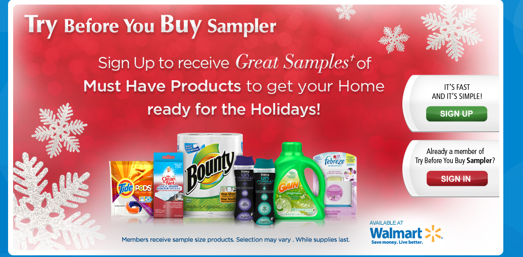 *TRY BEFORE YOU BUY P&G SAMPLER PACK – Holiday EDITION – LIVE* FREE SAMPLES