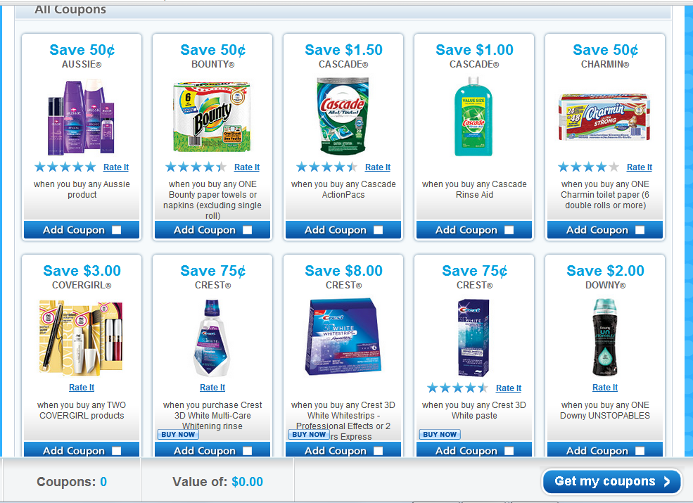 Dates for the P&G COUPONS: INSERT and ONLINE COUPON ANNOUNCEMENT
