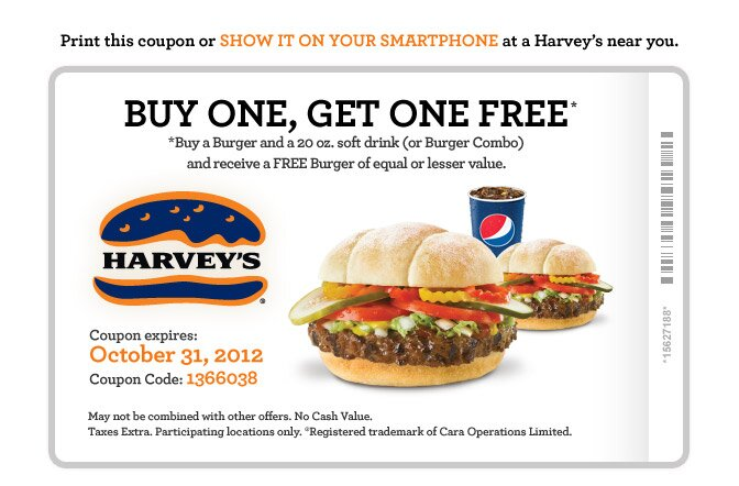 Buy One Get One Free Harvey's Coupon