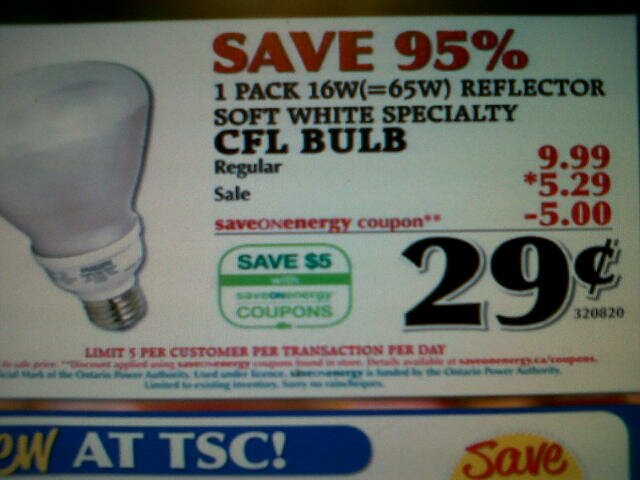 .29 for lightbulbs at TSC!