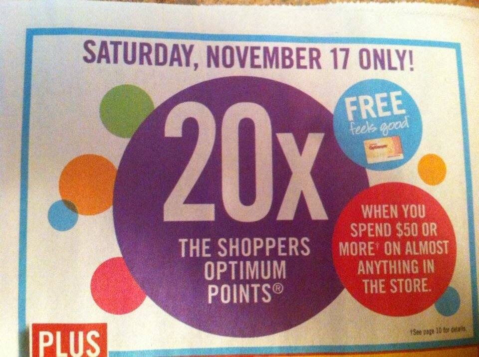 Shoppers Drug Mart – 20x the Points Event on Sat. Nov. 17
