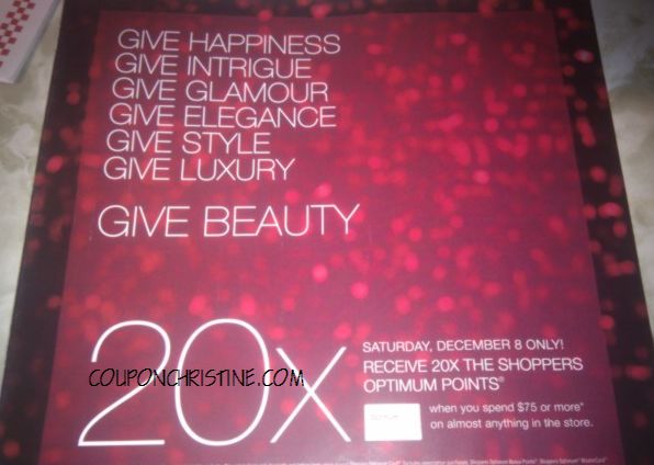 Get 20x the Points at Shoppers Drug Mart – One day only – Dec. 8, 2012